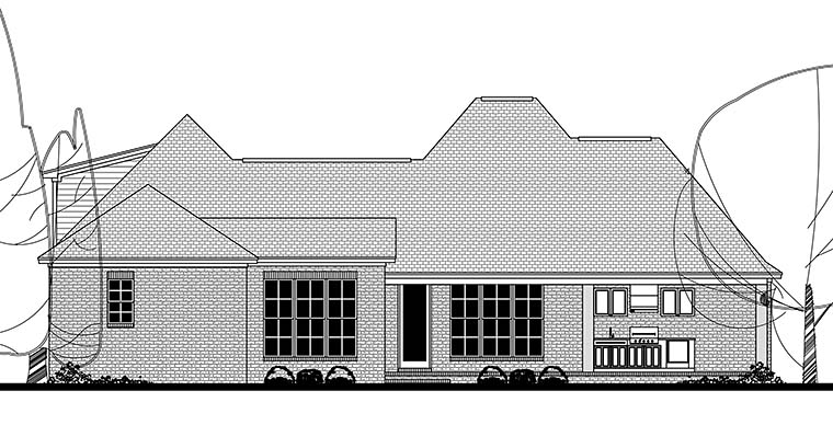 Country European French Country House Plan 51937 Rear Elevation
