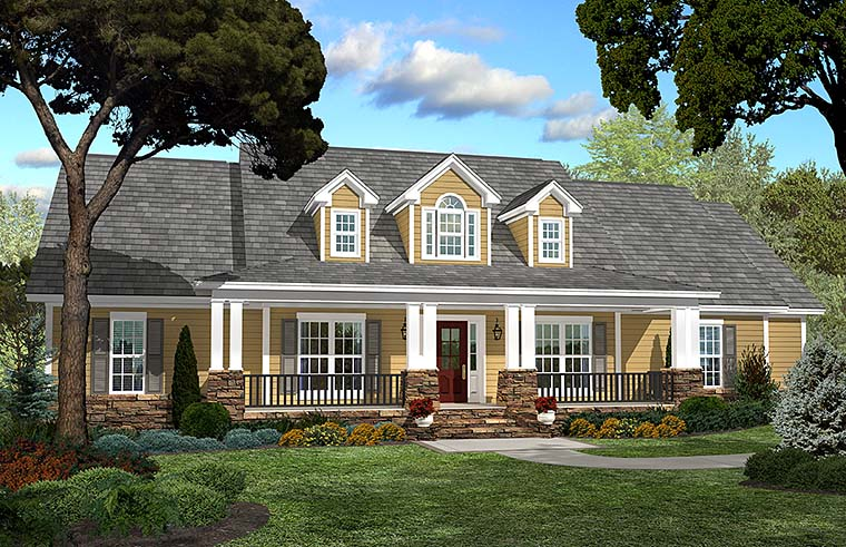 Country Ranch Southern Traditional House Plan 51938 Elevation