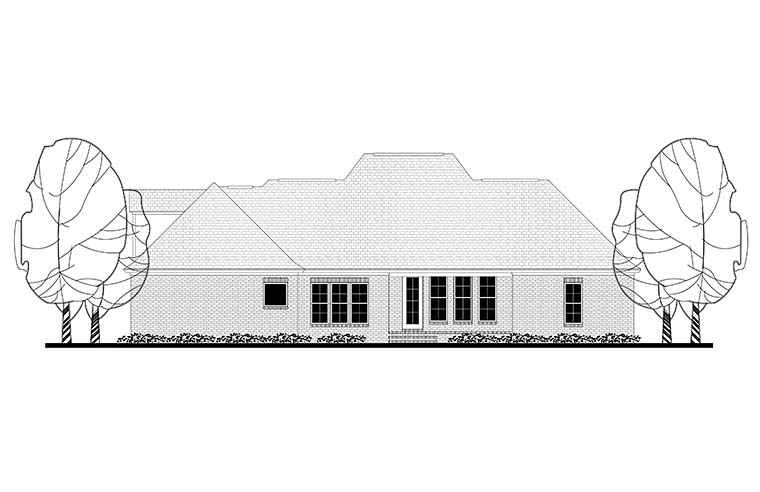 European French Country Traditional House Plan 51943 Rear Elevation