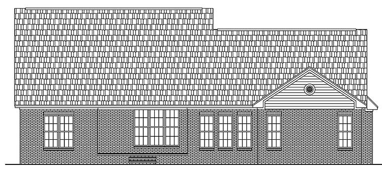 Country Ranch Traditional House Plan 51944 Rear Elevation