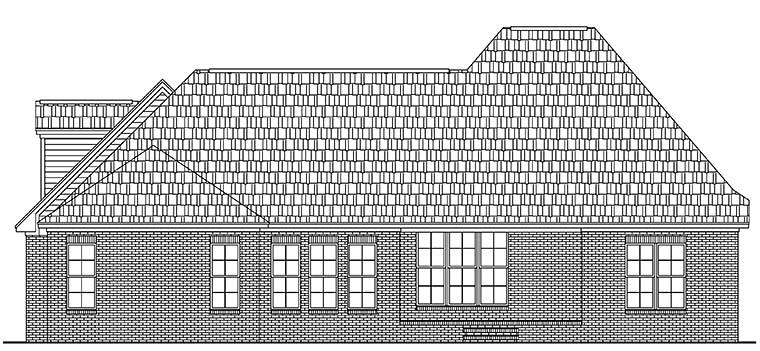 European French Country Rear Elevation of Plan 51945