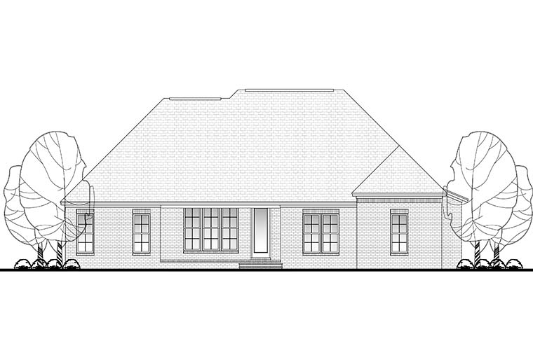 European French Country Traditional Rear Elevation of Plan 51948