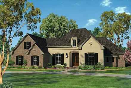 Country, European, French Country House Plan 51954 with 4 Beds, 3 Baths, 2 Car Garage