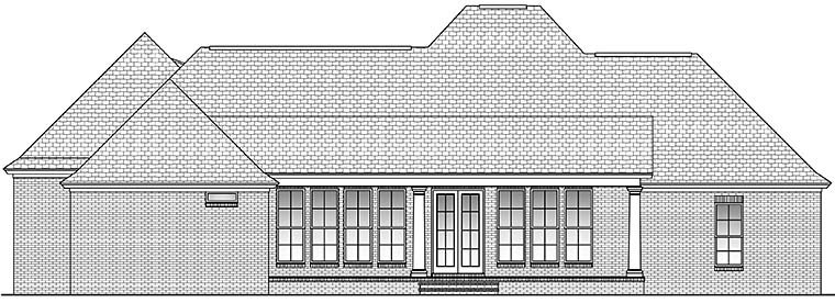 Country European French Country Rear Elevation of Plan 51956