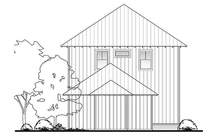 Coastal Cottage Southern Traditional Rear Elevation of Plan 51958