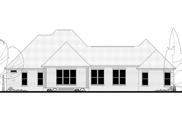Country European French Country Rear Elevation of Plan 51962