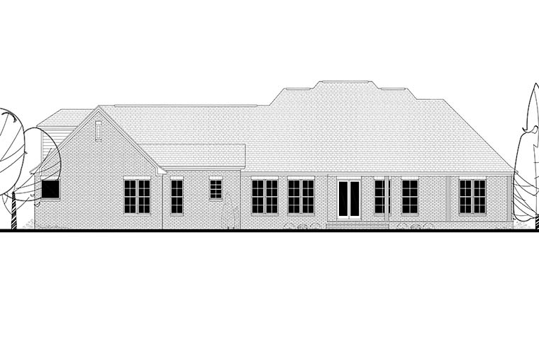 Country European French Country Southern Rear Elevation of Plan 51963