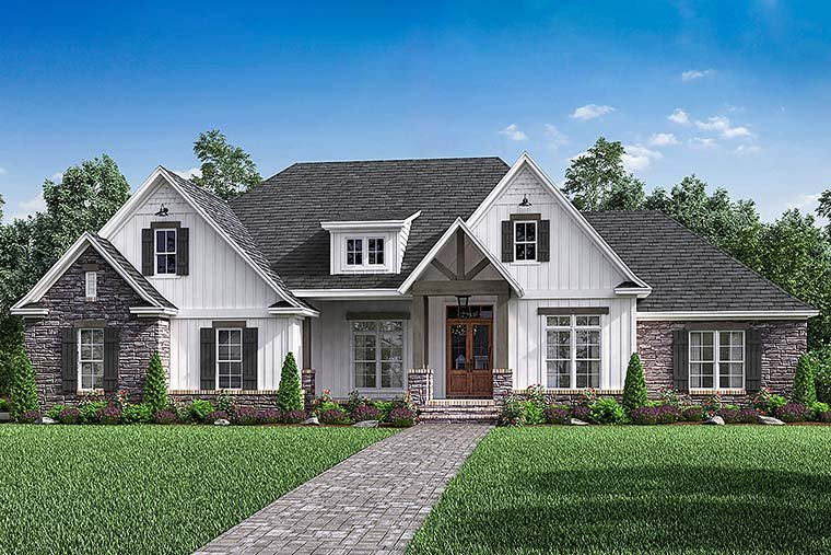 Country Craftsman Farmhouse Southern Traditional House Plan 51968 Elevation