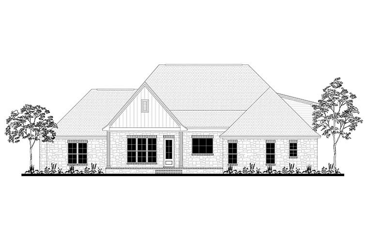 Country Craftsman Farmhouse Southern Traditional House Plan 51968 Rear Elevation