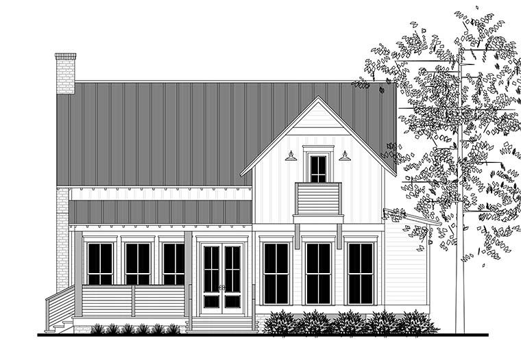 Cabin Country Farmhouse Southern Rear Elevation of Plan 51976