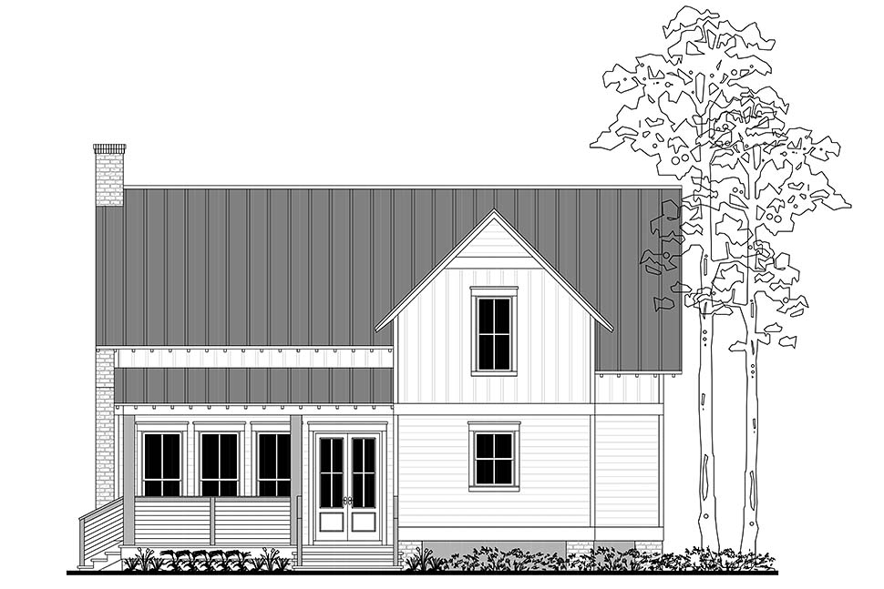 Country, Farmhouse, Southern, Traditional House Plan 51979 with 3 Beds, 3 Baths, 2 Car Garage Rear Elevation