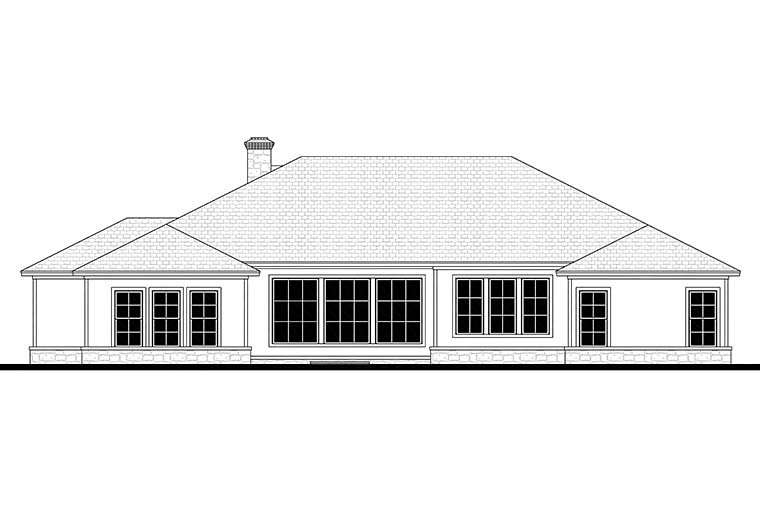 Country Ranch Traditional Rear Elevation of Plan 51983