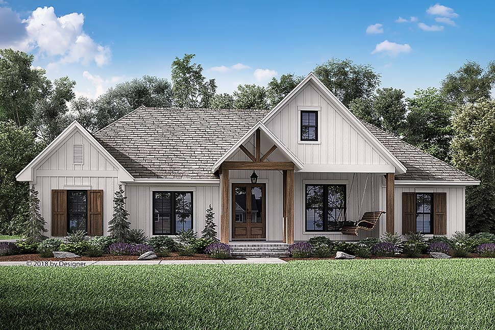 Southern style house plan 51984 with 3 bed 3 bath - How much paint for 1800 sq ft exterior ...
