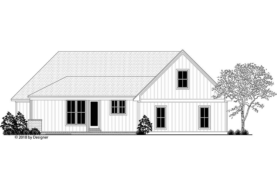 Country, Farmhouse, Southern House Plan 51984 with 3 Beds, 3 Baths, 2 Car Garage Rear Elevation