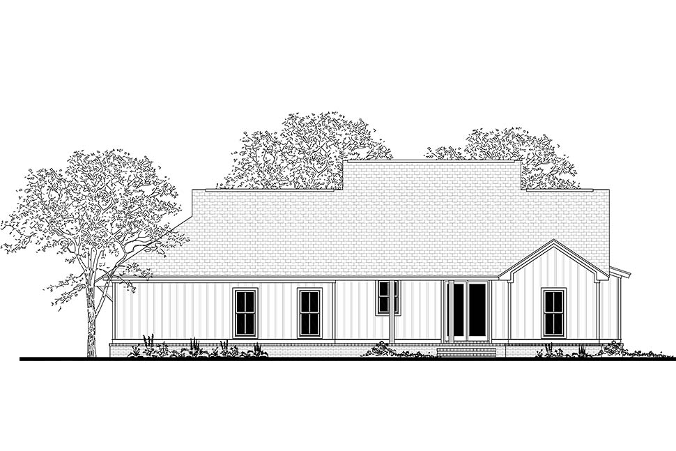 Country, Craftsman, Farmhouse, Southern House Plan 51985 with 3 Beds, 2 Baths, 2 Car Garage Rear Elevation