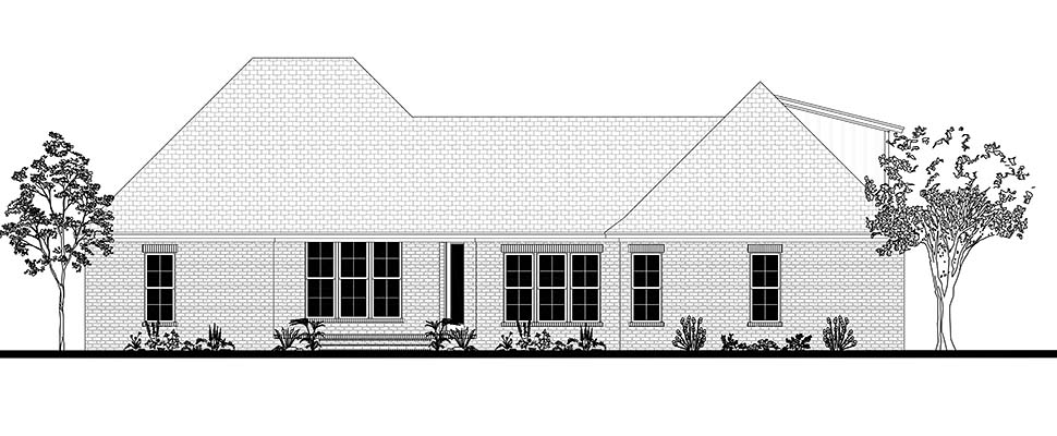 Country, Farmhouse, Traditional Plan with 2281 Sq. Ft., 4 Bedrooms, 2 Bathrooms, 2 Car Garage Rear Elevation