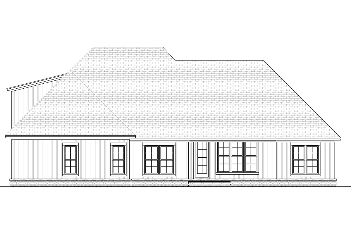 Country Craftsman Farmhouse Rear Elevation of Plan 51992