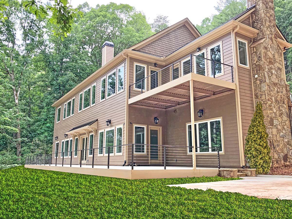 Craftsman House Plan 52009 with 4 Beds, 4 Baths, 3 Car Garage Rear Elevation