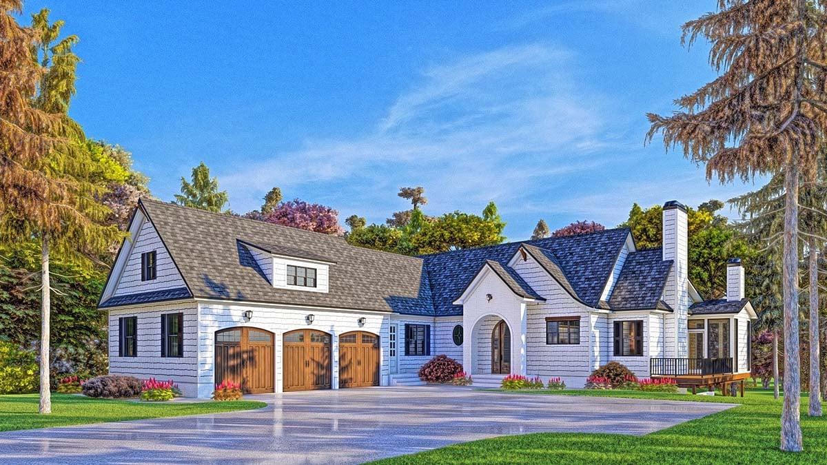 Coastal, Farmhouse, Southern House Plan 52025 with 4 Beds, 5 Baths, 3 Car Garage Elevation