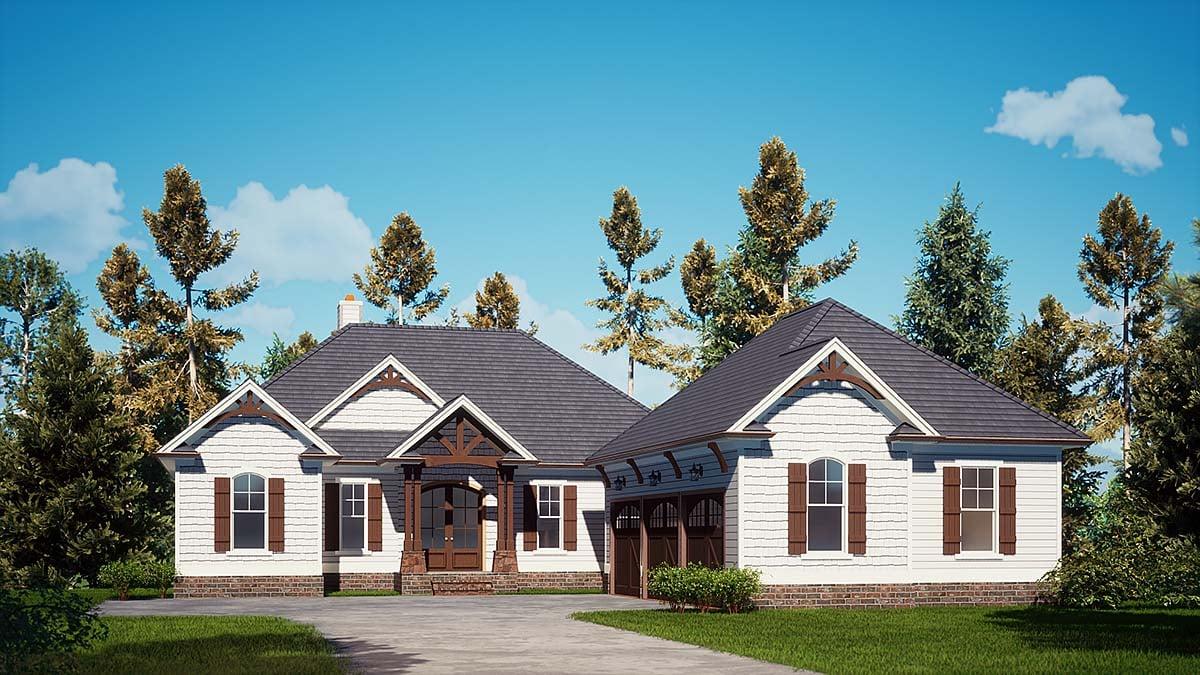 Cottage, Craftsman House Plan 52032 with 3 Beds, 4 Baths, 3 Car Garage Elevation