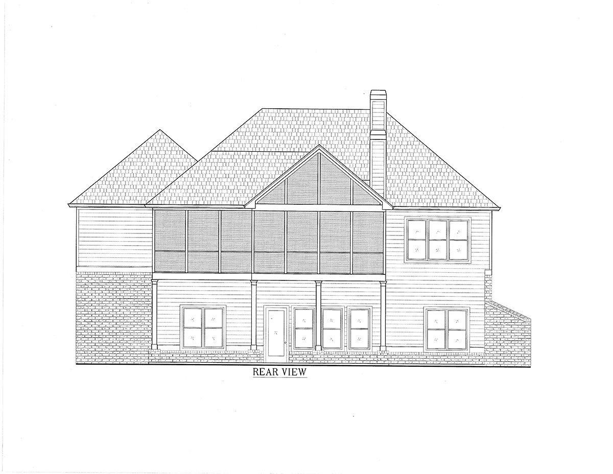 Cottage, Craftsman House Plan 52032 with 3 Beds, 4 Baths, 3 Car Garage Rear Elevation