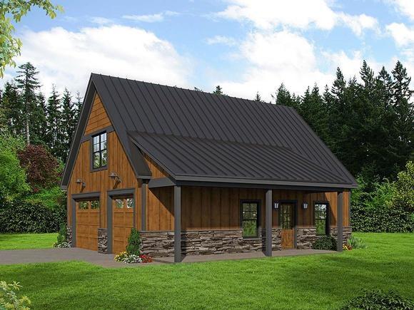 Bungalow, Country, Craftsman, Traditional 2 Car Garage Apartment Plan 52113 Elevation