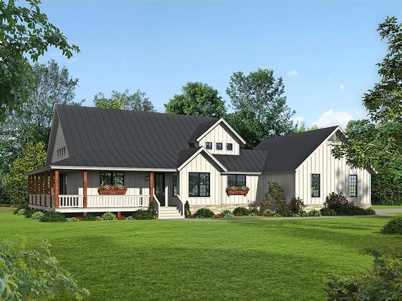 Country, Farmhouse, Traditional House Plan 52134 with 3 Beds, 3 Baths, 2 Car Garage Elevation