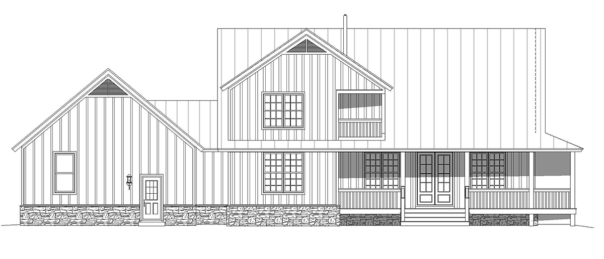 Country, Farmhouse, Traditional House Plan 52134 with 3 Beds, 3 Baths, 2 Car Garage Rear Elevation
