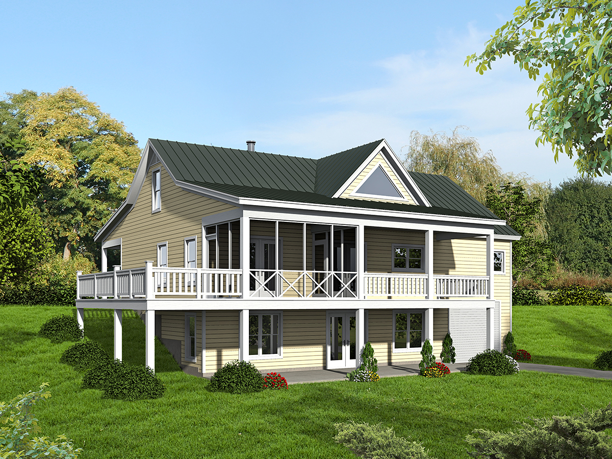 Country, Ranch, Traditional House Plan 52135 with 2 Beds, 3 Baths, 1 Car Garage Rear Elevation