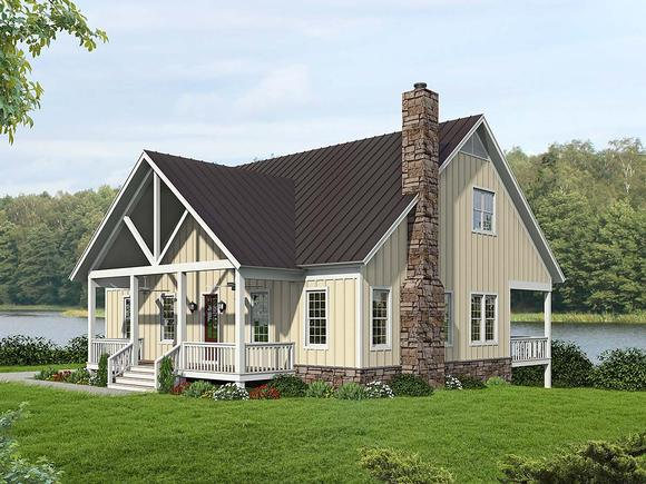 Bungalow, Country, Craftsman, Farmhouse House Plan 52140 with 3 Beds, 4 Baths, 2 Car Garage Elevation