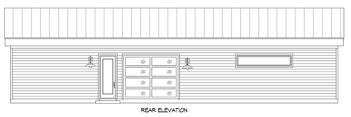 Bungalow Contemporary Craftsman Rear Elevation of Plan 52141