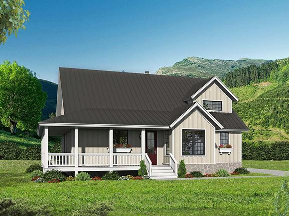 Country, Farmhouse, Traditional House Plan 52143 with 3 Beds, 4 Baths Elevation