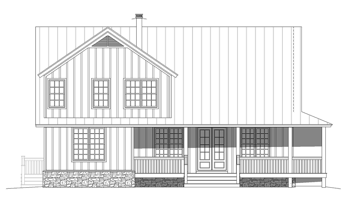 Country, Farmhouse, Traditional House Plan 52143 with 3 Beds, 4 Baths Rear Elevation