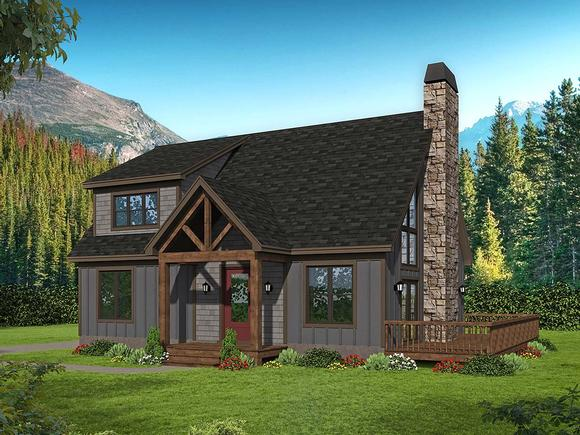 Cabin, Country, French Country, Prairie, Ranch, Traditional House Plan 52145 with 2 Beds, 2 Baths Elevation