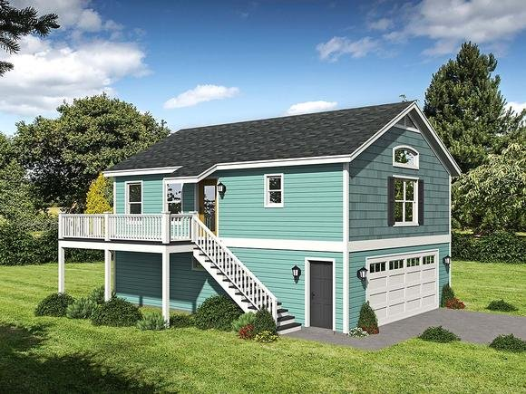 Cape Cod, Saltbox, Traditional Garage-Living Plan 52146 with 1 Beds, 1 Baths, 2 Car Garage Elevation