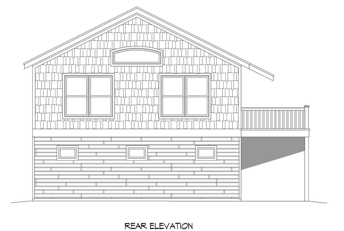 Cape Cod, Saltbox, Traditional Garage-Living Plan 52146 with 1 Beds, 1 Baths, 2 Car Garage Rear Elevation