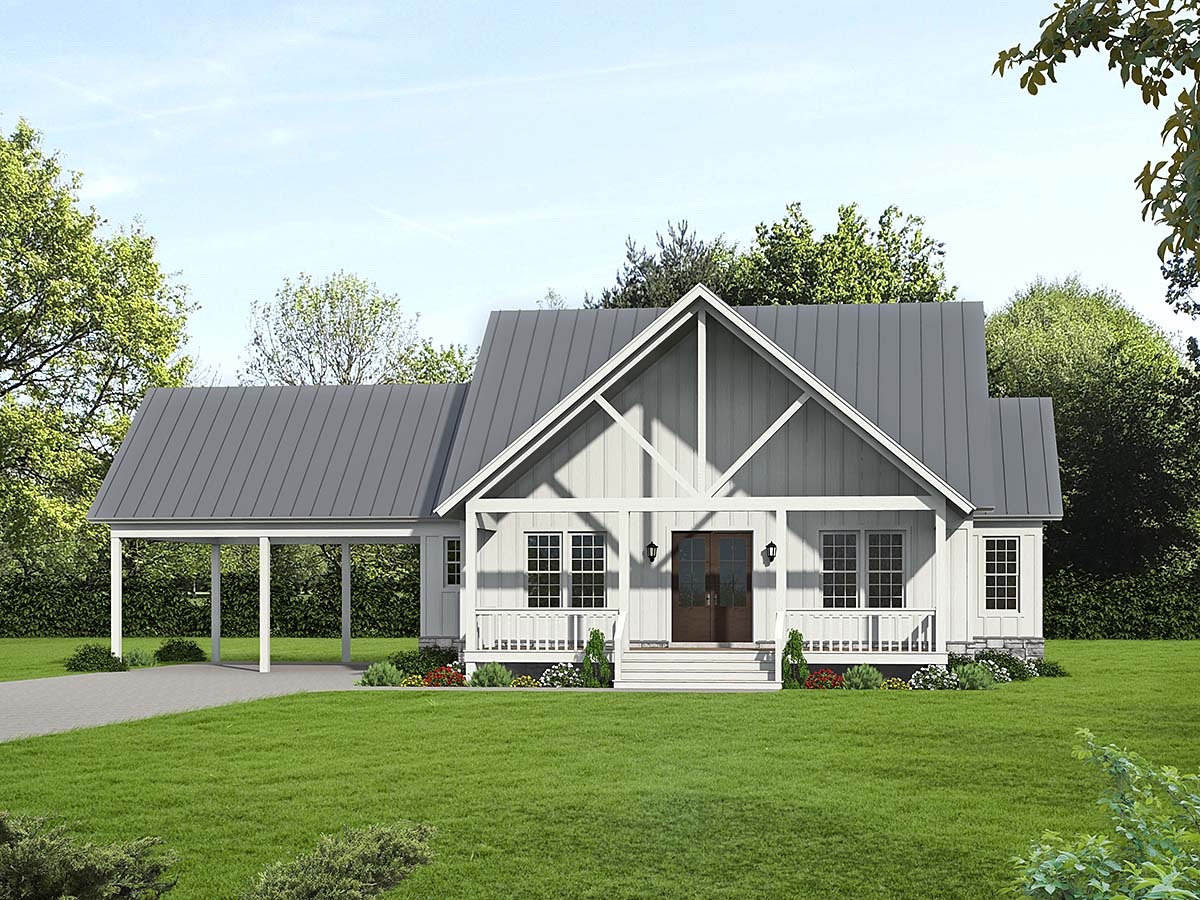 Cabin, Country, Farmhouse House Plan 52150 with 3 Beds, 3 Baths, 2 Car Garage Elevation