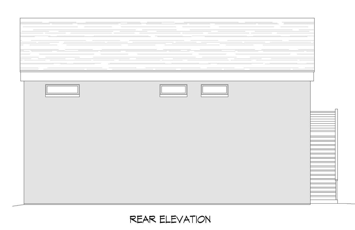Contemporary Modern Rear Elevation of Plan 52156