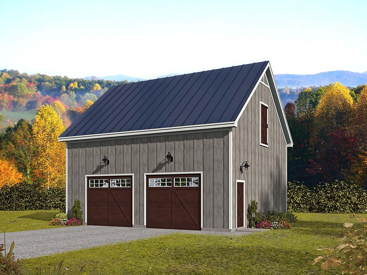 Country, Farmhouse, Traditional 2 Car Garage Plan 52158 Elevation