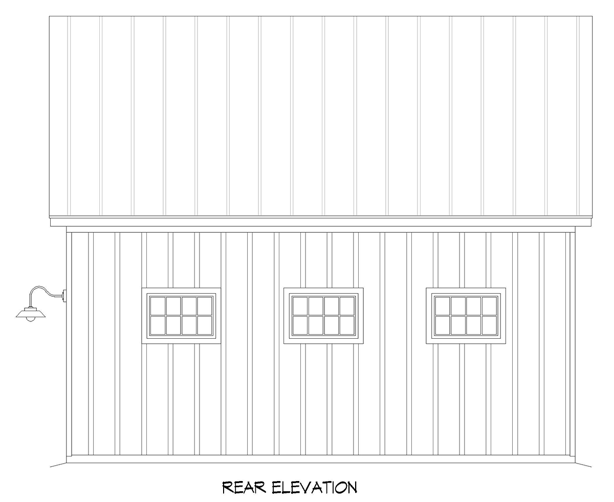 Country Farmhouse Traditional Rear Elevation of Plan 52158
