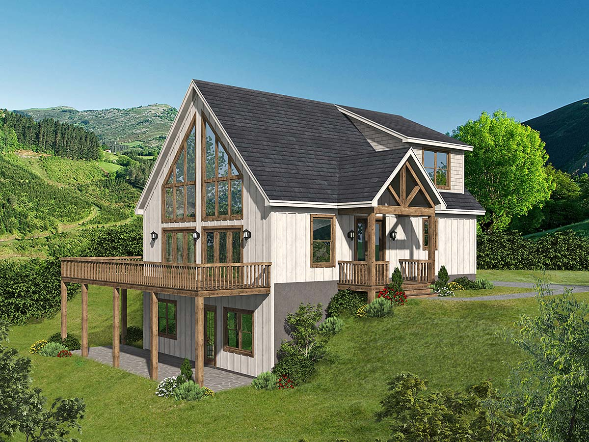 A-Frame, Contemporary House Plan 52164 with 4 Beds, 4 Baths Elevation