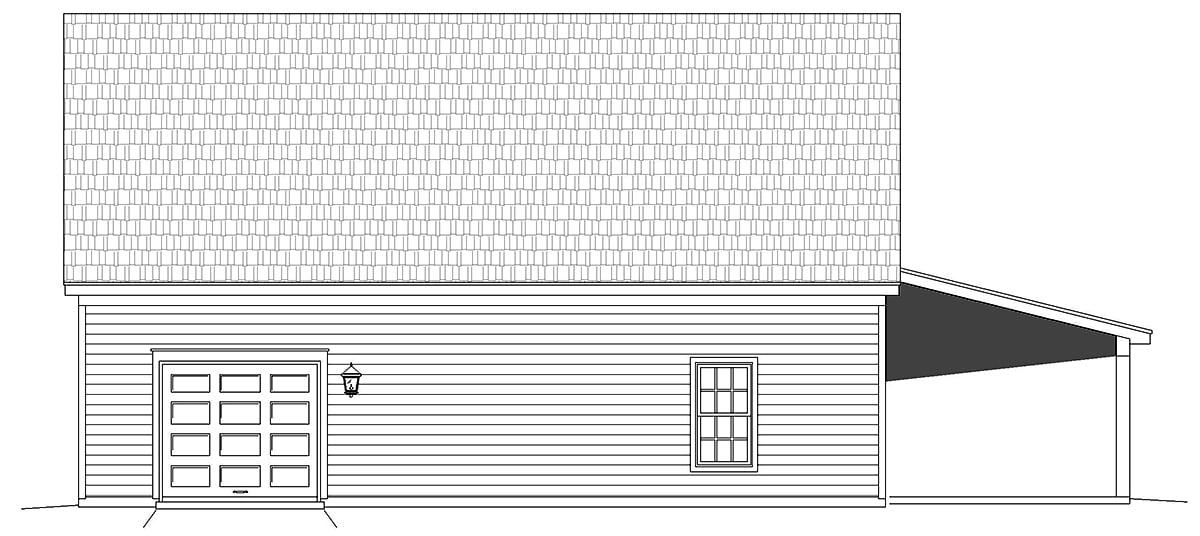 Country, Prairie 5 Car Garage Plan 52178 Rear Elevation