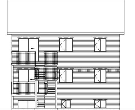 Multi-Family Plan 52382 Rear Elevation