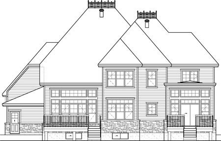 House Plan 52656 with 3 Beds, 3 Baths, 2 Car Garage Rear Elevation