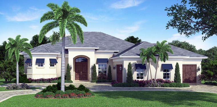 Mediterranean House Plan 52901 with 3 Beds, 4 Baths, 3 Car Garage Elevation