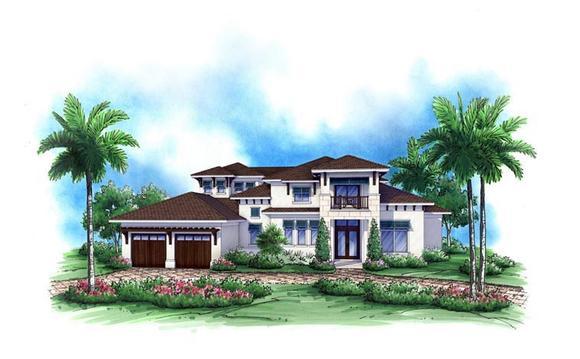Coastal House Plan 52904 with 4 Beds, 5 Baths, 3 Car Garage Elevation
