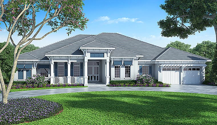 Coastal Contemporary Florida House Plan 52912 Elevation