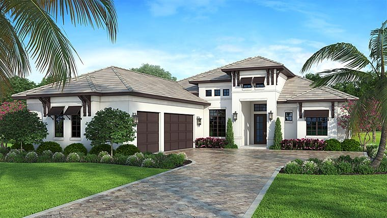 Coastal contemporary florida house plan 52921 elevation