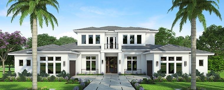 Coastal Contemporary Florida Mediterranean House Plan 52925 Elevation