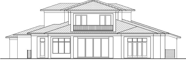 Coastal Contemporary Florida Mediterranean House Plan 52925 Rear Elevation